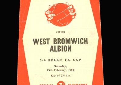West Brom v Sheff Utd 15.02.1958 FA Cup 5th Round