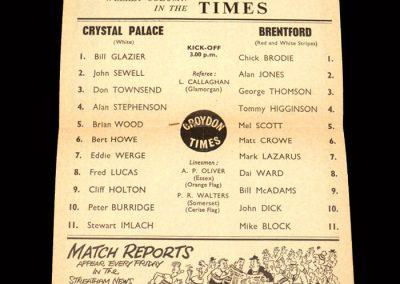 Crystal Palace v Brentford 11.01.1964