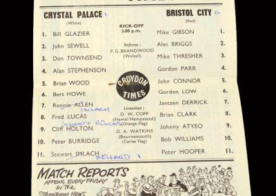 Crystal Palace v Bristol City 01.02.1964