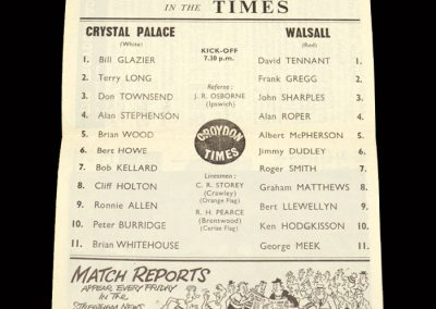 Crystal Palace v Walsall 18.03.1964