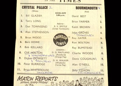 Crystal Palace v Bournemouth 28.03.1964
