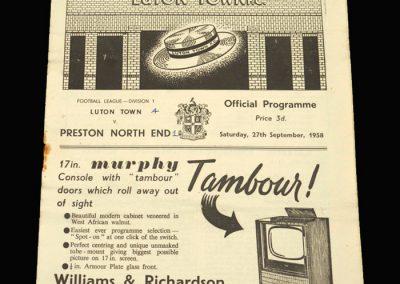 Preston v Luton 27.09.1958