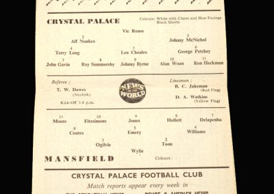 Crystal Palace v Mansfield 01.10.1960