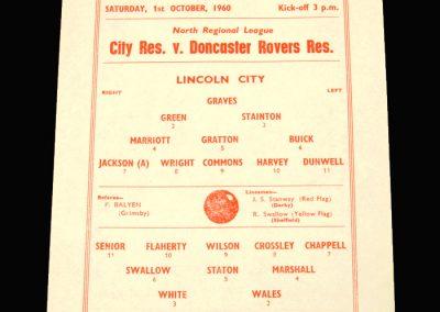 Lincoln City Reserves v Doncaster Reserves 01.10.1960