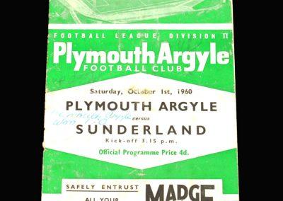 Plymouth v Sunderland 01.10.1960