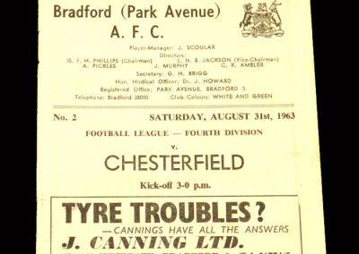 Bradford PA v Chesterfield 31.08.1963