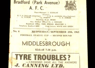 Bradford v Middlesbrough 25.09.1963 - League Cup 2nd Round