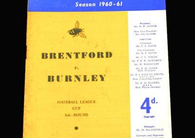 Brentford v Burnley 22.11.1960