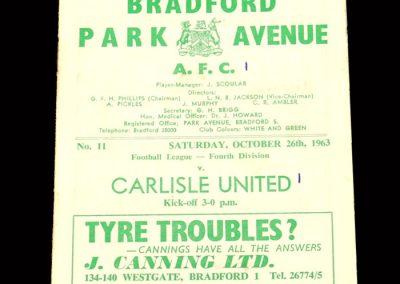 Bradford PA v Carlisle 26.10.1963