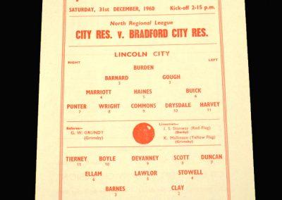 Lincoln City Reserves v Bradford City Reserves 31.12.1960