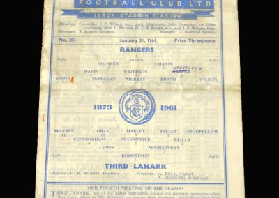 Rangers v Third Lanark 21.01.1961