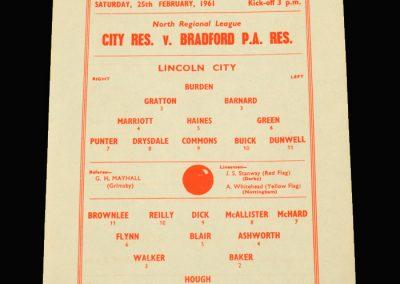 Lincoln City Reserves v Bradford PA Reserves 25.02.1961