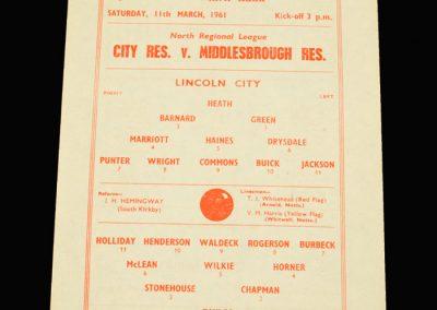 Lincoln City Reserves v Middlesbrough Reserves 11.03.1961