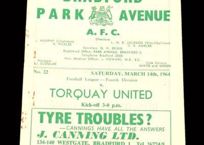 Bradford PA v Torquay 14.03.1964 (abandond)