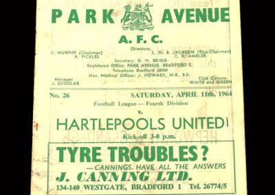 Bradford PA v Hartlepool 11.04.1964