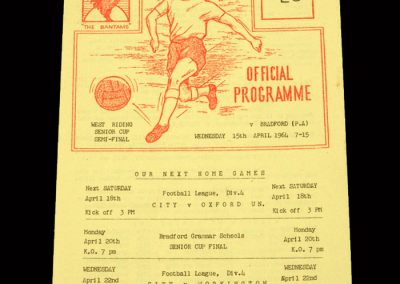 Bradford PA v Bradford City 15.04.1964 - West Riding Cup Semi Final