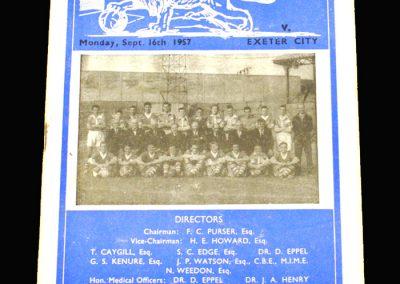 Millwall v Exeter 14.09.1957