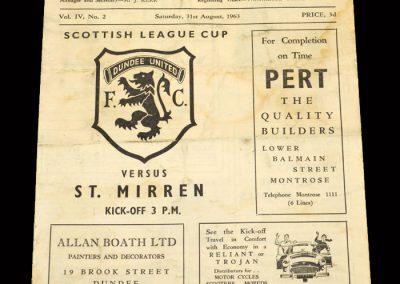 St Mirren v Dundee Utd 31.08.1963 - League Cup