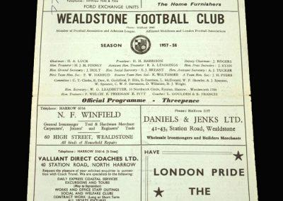 Wealdstone v Uxbridge 16.11.1957