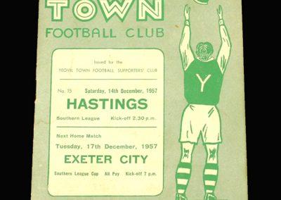 Yeovil v Hastings 14.12.1957