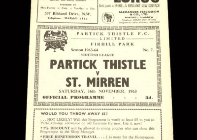 St Mirren v Partick Thistle 16.11.1963