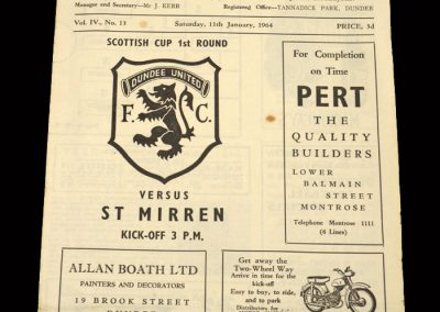 St Mirren v Dundee Utd 11.01.1964 - Scottish Cup 1st Round