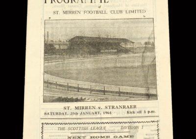 St Mirren v Stranraer 25.01.1964 - Scottish Cup 2nd Round