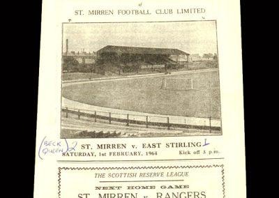 St Mirren v East Stirling 01.02.1964