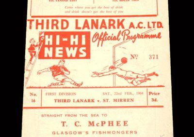 St Mirren v Third Lanark 22.02.1964 (postponed) | St Mirren v Third Lanark 25.02.1964