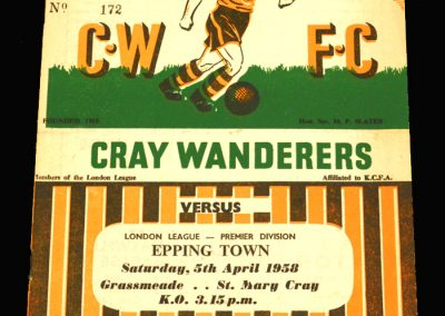 Cray Wanderers v Epping 05.04.1958