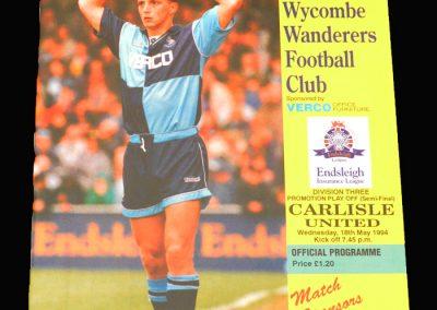 Wycombe v Carlisle 18.05.1994 Div 3 Play-Offs Semi Final 2nd Round