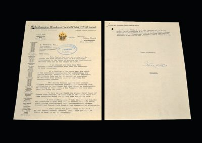 Letter from Stan Cullis - upset with Alec Stock