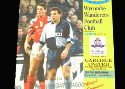 Wycombe v Carlisle 18.12.1993