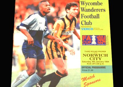 Wycombe v Norwich 08.01.1994 - FA Cup 3rd Round