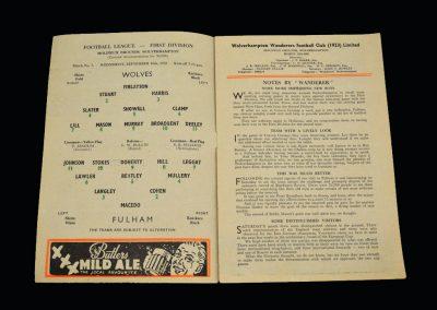 Wolves v Fulham 16.09.1959