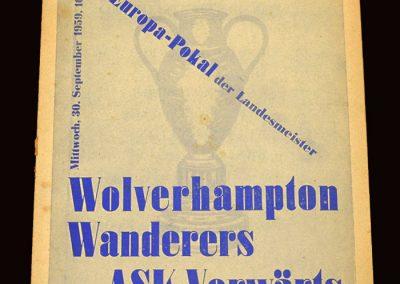 Wolves v Vorwarts (Berlin) 30.09.1959 - European Cup Qualifying Round 1st Leg