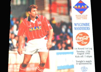 Wycombe v Leyton Orient 17.08.1993 - FA League Cup 1st Round 1st Leg