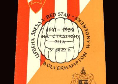 Wolves v Red Star Belgrade 11.11.1959 - European Cup 1st Round 1st Leg