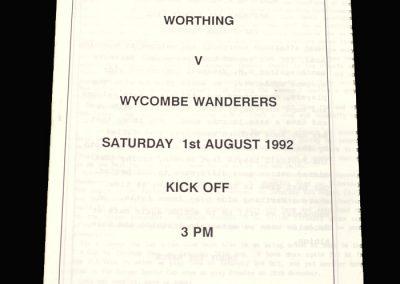 Wycombe v Worthing 01.08.1992 (Friendly)
