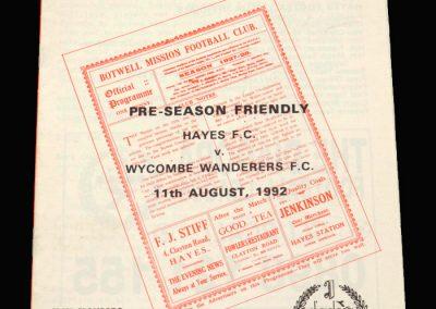 Wycombe v Hayes 11.08.1992 (Friendly)