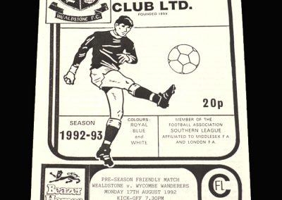 Wycombe v Wealdstone 17.08.1992 (Friendly)