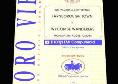 Wycombe v Farnborough 31.08.1992