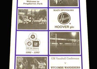 Wycombe v Merthyr Tydfil 12.09.1992