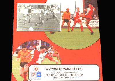Wycombe v Kidderminster Harriers 31.10.1992