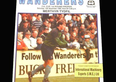 Wycombe v Merthyr Tydfil 14.11.1992 - FA Cup 1st Round