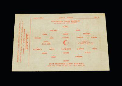 Man Utd Reserves v West Brom Reserves 22.08.1959