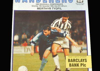 Wycombe v Merthyr Tydfil 19.12.1992