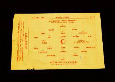 Man Utd Reserves v Man City Reserves 19.09.1959