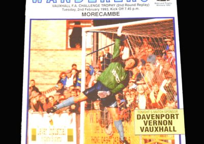 Wycombe v Morcambe 02.02.1993 - FA Trophy 2nd Round Replay