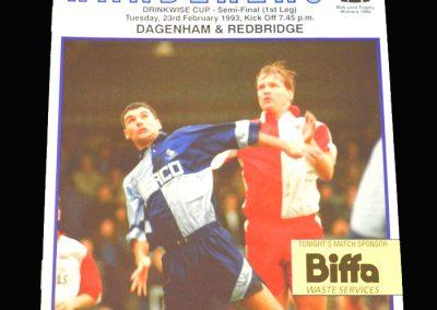 Wycombe v Dagenham & Redbridge 23.02.1993 - James C Thompson Shield Semi Final 1st Leg